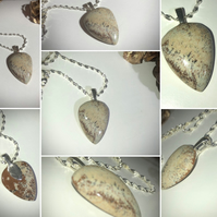 "Natural smooth Picture Jasper gemstone pendant Sterling Silver 18""  rope chain"