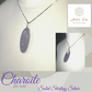 "Solid Sterling Silver with Purple Charoite stone (lab) on 18"" box chain"