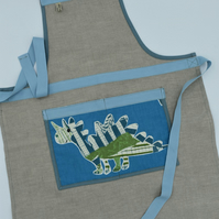 Linen Young Persons Apron With Dinosaur Pocket