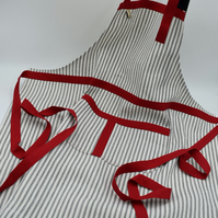 Ticking strip cotton apron with waist ties