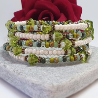 Floral boho wrap bracelet in a variety of greens and cream