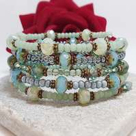 Pale blue and sage green beaded wrap bracelet