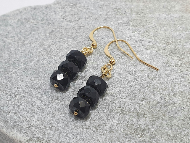 Jet black and gold tubular glass earrings