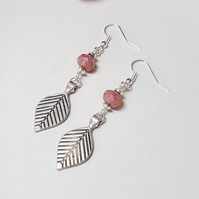 Rose pink and silver tribal leaf earrings