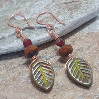 Large deep red and olive dogwood leaf earrings