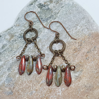 Rustic red olive and bronze chandelier earrings