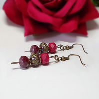 Deep red beaded boho earrings