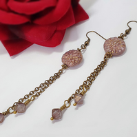 Long rose pink and pale lilac dahlia flower earrings