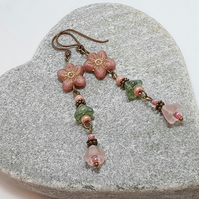 Long floral boho earrings in rose pink and green
