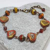 Red and yellow boho heart bracelet