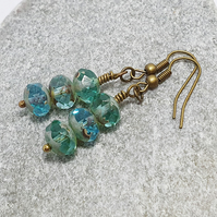 Sparkly Blue Green Fire Polished Czech Glass Earrings