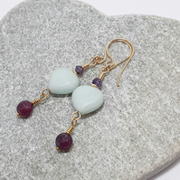 Amazonite heart earrings with purple Labrodite and purple jade