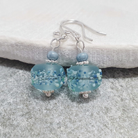 Pale baby blue lampwork and sterling silver earrings