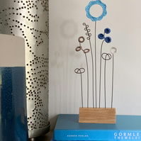 Letterbox Wire Crochet Flowers - Blue hues