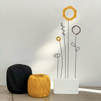 Letterbox Gift Wire & Crochet Flowers - Mustard and Black