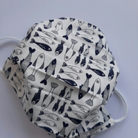 Fabric Face Covering - Navy and White Fish