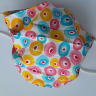 Fabric Face Covering - Free Style Circles in Bright Colours