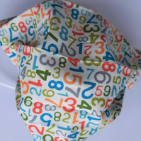 Fabric Face Covering - Multi Coloured Numbers