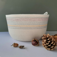 Alum Bay Coiled Rope Bowl in Shades of Grey, Red and Yellow