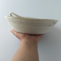 Freshwater Bay Bowl, a coiled rope bowl with grey stitched detail