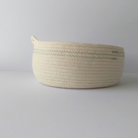 Colwell Coiled Rope Storage Bowl with blue grey detail