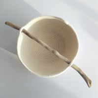 Newtown Bowl, coiled rope bowl with driftwood handle