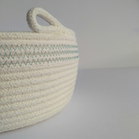 Colwell Coiled Rope Storage Bowl with blue green detail