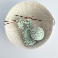 Freshwater Bay Bowl, a coiled rope bowl with light pink stitched detail