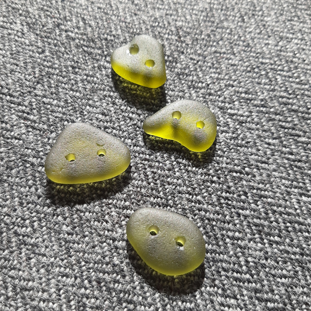 Four sage green sea glass buttons
