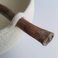 Small Newtown Bowl, handmade coiled cotton storage bowl with driftwood handle