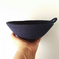 Large Freshwater Bowl, a navy blue coloured cotton rope