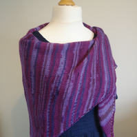 Purple Stole, Wrap, Shawl - 75% Wool