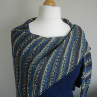 Knitted Shawl, Wrap, Stole - Bamboo and Wool