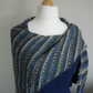 Knitted Wrap, Bamboo & Wool, Blue and Green