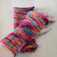 Rainbow Wristwarmers, Fingerless Mittens