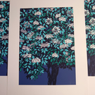 Elder Flower Blue original screen print MISPRINT