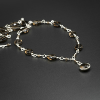 Smokey quartz, sterling silver link necklace, Libra Scorpio gift