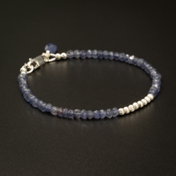 Iolite sterling silver stacking bracelet, Iolite jewelry, Aquarius, Taurus gift