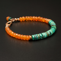 Natural turquoise, carnelian and copper bracelet, Turquoise jewelry