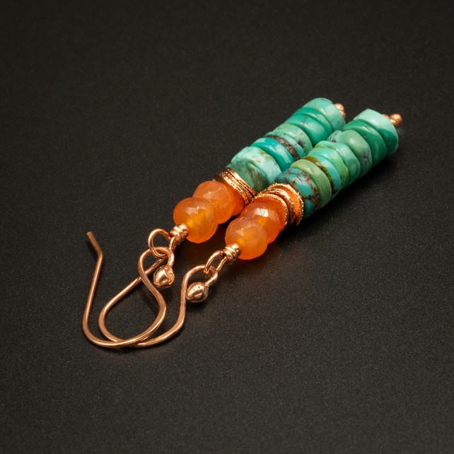 Natural turquoise, carnelian and copper drop earrings, Turquoise jewelry