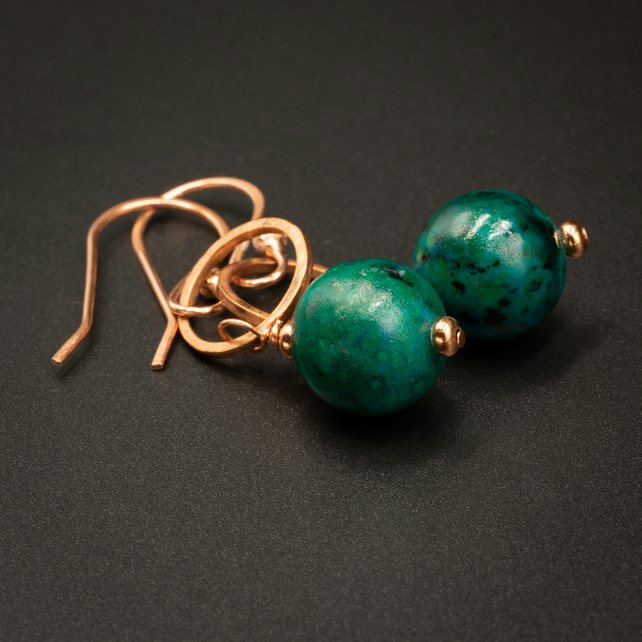 Chrysocolla and copper drop earrings