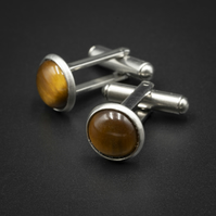 Tiger eye and stainless steel cufflinks, Sagittarius gift