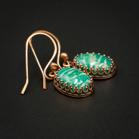 Russian Amazonite and copper gemstone stud earrings, Virgo jewelry