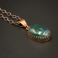 Moss agate and copper gemstone pendant necklace Taurus, Gemini jewelry