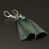 Moss agate and sterling silver long tassel earrings, Gemini, Taurus gift