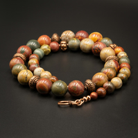 Picasso jasper and copper handmade gemstone statement necklace, Pisces jewelry