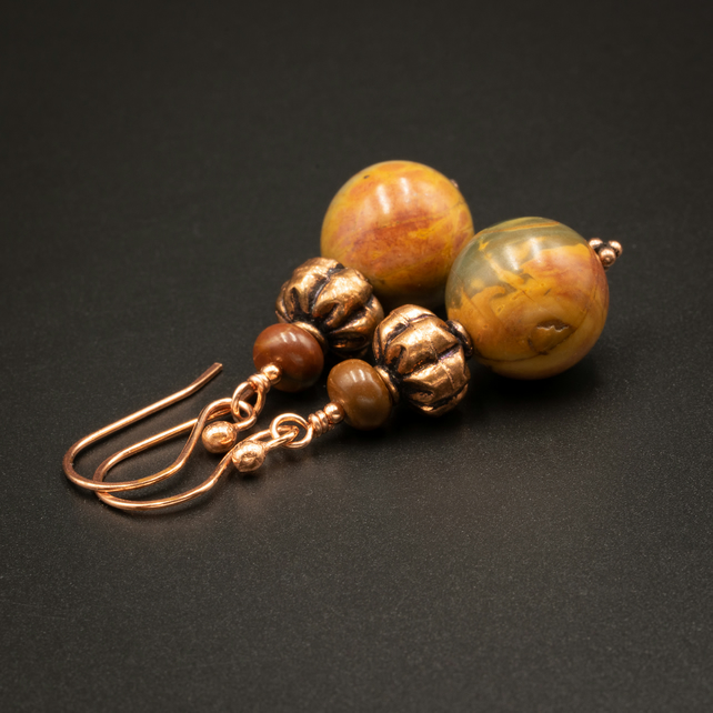 Picasso jasper and copper handmade semiprecious stone earrings, Pisces jewelry