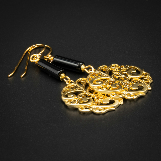 Gold filigree and black onyx earrings, Cancer, Leo gift