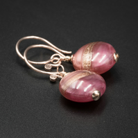 Venetian Murano glass 2 tone pink and rose gold earrings