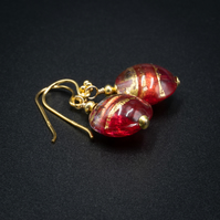 Venetian Murano glass red with gold band coin drop earrings